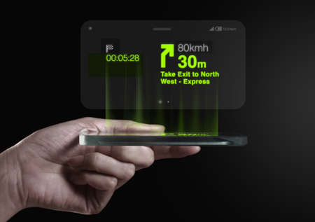 conveys: Three dimensional gps navigation direction on smartphone screen. A 3D phone is a mobile phone that conveys depth perception to the viewer by employing stereoscopy or any other form of 3D depth techniques.
