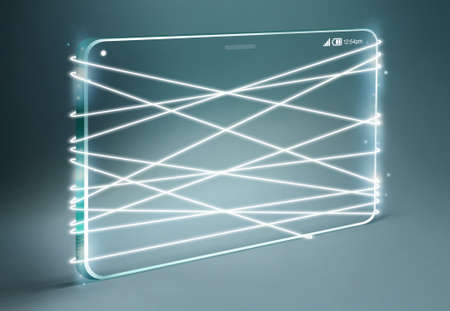 glass fiber: Optical fiber emitting white light with transparent smartphone isolated on dark blue background.