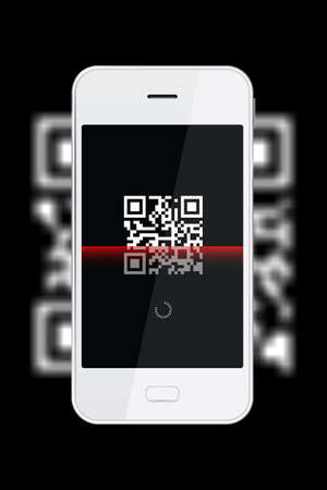 type bar: Scanning QR Code with smartphone. A QR code is a type of 2D bar code that is used to provide easy access to information through a smartphone. Stock Photo