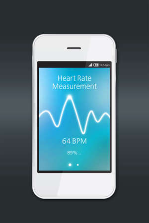 rate: Smartphone with heart rate measurement application on dark background.