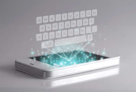 employing: Three dimensional keyboard on smartphone. A 3D phone is a mobile phone that conveys depth perception to the viewer by employing stereoscopy or any other form of 3D depth techniques. Stock Photo