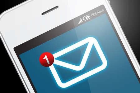 新しいメッセージ アイコンを持つスマート フォン。メッセージは、別の人または中心的なテーマや通信のアイデアから送信される短い通信です。
