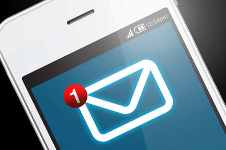 Smartphone with new message icon. A message is a short communication sent from one person to another or the central theme or idea of a communication.
