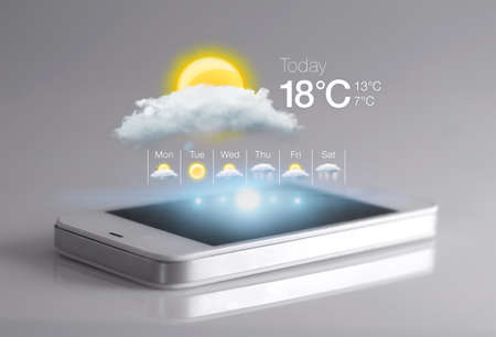 weather report: Smartphone with weather icon on light grey background. Weather forecasting is the application of science and technology to predict the state of the atmosphere for a given location.