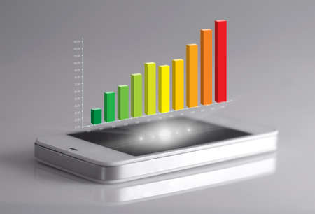 three dimensional: Three dimensional bar on smartphone screen. representing business growth.