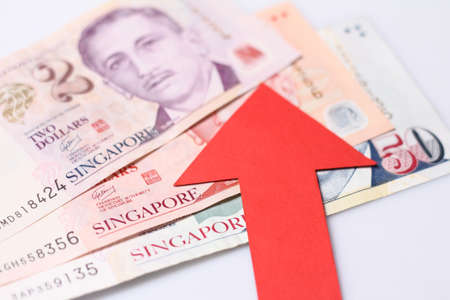 compared: Appreciation of the Singapore dollar means the Singapore dollar is getting more valuable when compared with other currencies. Stock Photo