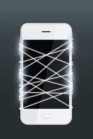 fiberoptic: Optical fiber emitting white light with smartphone isolated on dark background.