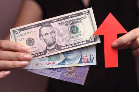 compared: Appreciation of the currency means the currency is getting more valuable when compared with other currencies Stock Photo
