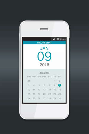 calendar date: Smartphone with calendar. Smartphone calendar is a good helper to manage your time. Stock Photo