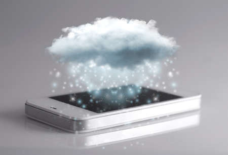hosted: Cloud computing technology with smartphone isolated on grey background. Cloud computing is a general term for the delivery of hosted services over the Internet.