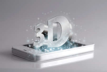 conveys: Three dimensional wording on smartphone. A 3D phone is a mobile phone that conveys depth perception to the viewer by employing stereoscopy or any other form of 3D depth techniques.