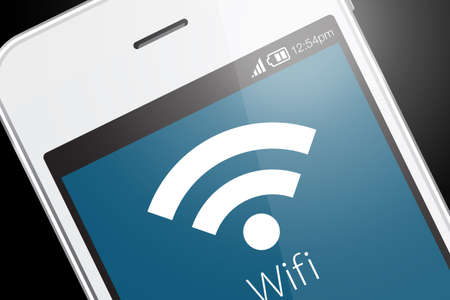 wireless: Wifi icon on smartphone. Wi-Fi is a wireless networking technology that allows computers and other devices to communicate over a wireless signal. Stock Photo
