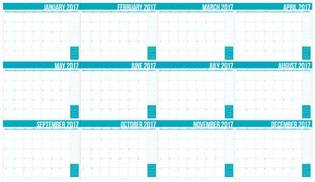 organizer: Year 2017 table calendar vector design template, simple and clean design