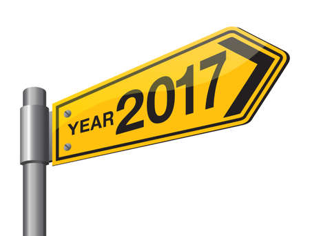 new direction: Happy New Year 2017 road sign, welcome 2017.
