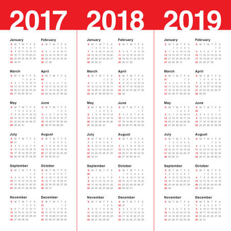 Simple Calendar Template For Year 2017 And Year 2018 Royalty Free