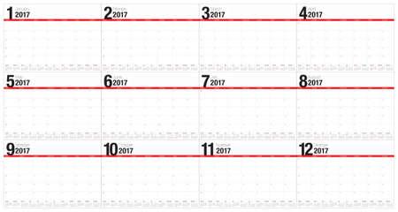 table calendar: Year 2017 table calendar vector design template, simple and clean design