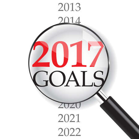 2017 goals with magnifer on white background