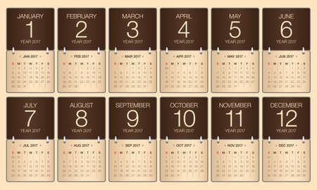 yearly: Year 2017 Calendar vector design, simple and clean design
