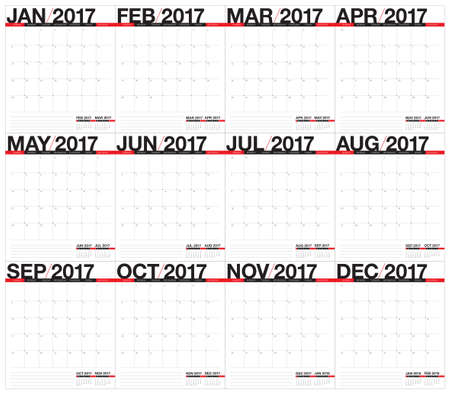 Year 2017 Table Calendar Vector Design Template Simple And Clean