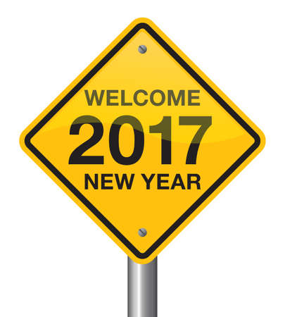 sign road: Happy New Year 2017 road sign, welcome 2017.