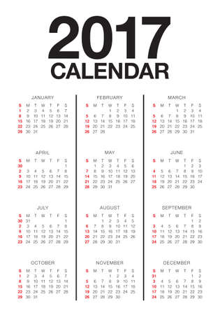 new years day: Year 2017 Calendar vector design template, simple and clean design Illustration