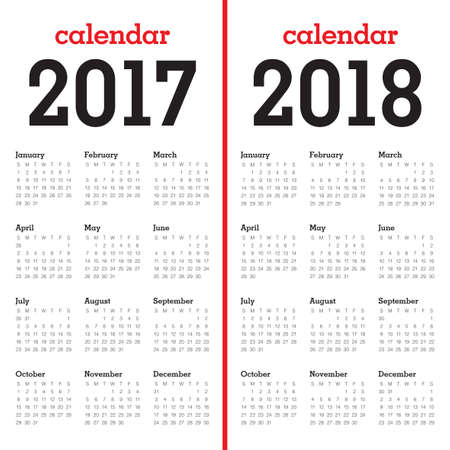 Simple Calendar template for year 2017 and year 2018 向量圖像