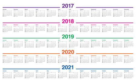 Simple Calendar template for 2017, 2018, 2019, 2020 and 2021 Иллюстрация