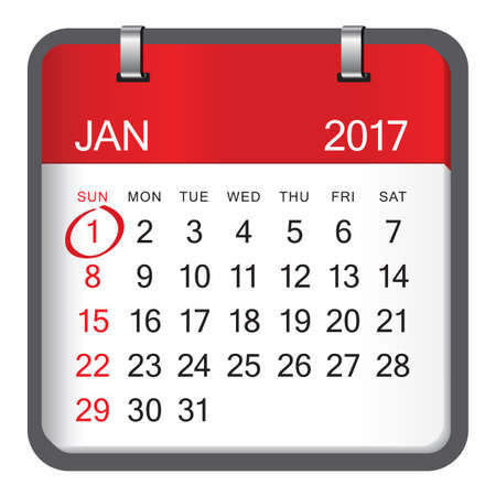 january 1: 1 January calendar on white background. January 1 is the first day of the year in the Gregorian calendar.