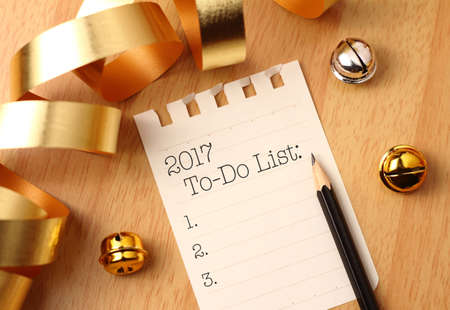 todo list: 2017 to-do list with gold decoration and the ribbon Stock Photo