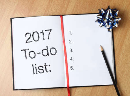 todo list: 2017 to-do list with book and decoration Stock Photo