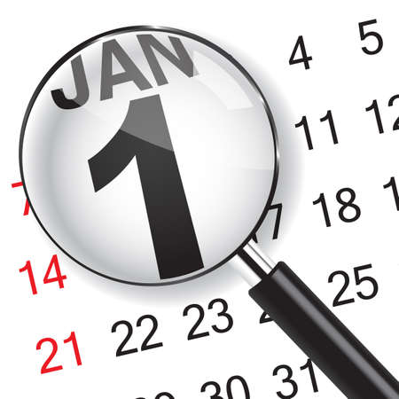 1 January calendar with magnifer. January 1 is the first day of the year in the Gregorian calendar.