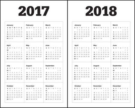 Plantilla Calendario simple para el año 2017 y el año 2018 Ilustración de vector