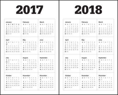 Simple Calendar template for year 2017 and year 2018 Иллюстрация