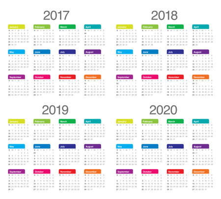 Simple Calendar template for 2017, 2018, 2019 and 2020 Иллюстрация