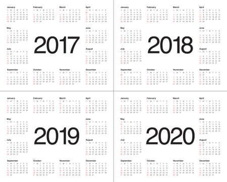 calendario: Plantilla Calendario simple para 2017, 2018, 2019 y 2020 Vectores