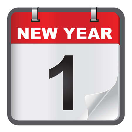 1 January calendar on white background. January 1 is the first day of the year in the Gregorian calendar.