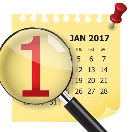 january 1: 1 January calendar with magnifer. January 1 is the first day of the year in the Gregorian calendar.