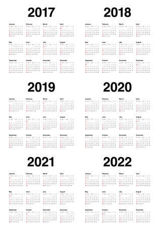 Simple Calendar template for 2017, 2018, 2019, 2020, 2021 and 2022 向量圖像