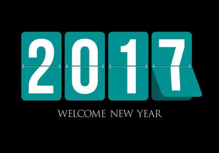 first day: Happy New Year 2017 scoreboard design. New year is the first day of the year in the Gregorian calendar. Illustration