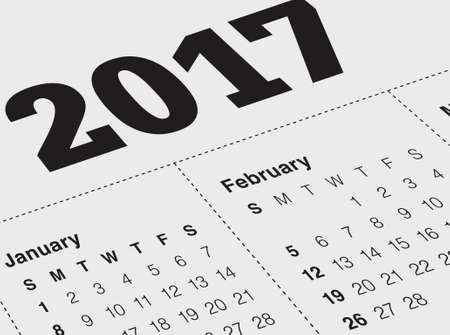 diaries: Close up of January 2017 on diary calendar. New year is the first day of the year in the Gregorian calendar.