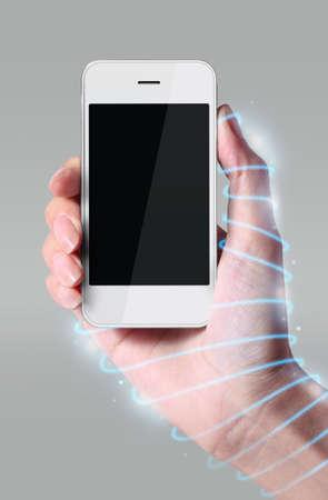 twining: Optical fiber twining around the hand, the hand holding smartphone.