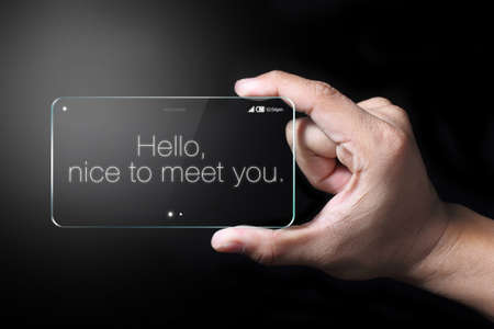 wordings: Hello wordings on transparent smartphone. The most promising technologies in the mobile market is flexible and transparent displays.