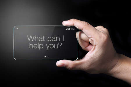 promising: Service wordings show on transparent smartphone. The most promising technologies in the mobile market is flexible and transparent displays. Stock Photo