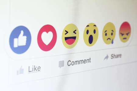 Johor, Malaysia - Feb 25, 2016: Facebook users show range of reactions to new love, haha, wow, sad, angry emoticons, Feb 25, 2016 in Johor, Malaysia.