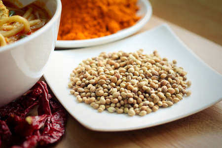 often: Dried fennel seeds are often used in cooking as an anise-flavored spice. Stock Photo