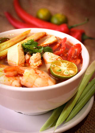 prawn: Tom Yam is one of Thailands favourite and most well known dish. Stock Photo