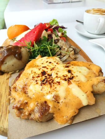 prepared dish: Chicken chop is a dish that is prepared with boneless chicken meat.