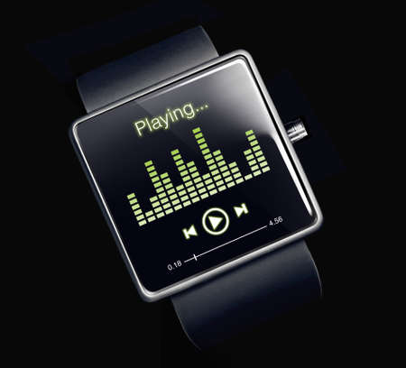 Music player on smartwatch screen. A smartwatch is a wearable computing device that closely resembles a wristwatch or other time-keeping device.