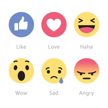 Johor, Malaysia - Feb 25, 2016: Facebook users show range of reactions to new love, haha, wow, sad, angry emoticons, Feb 25, 2016 in Johor, Malaysia. 版權商用圖片 - 72821628