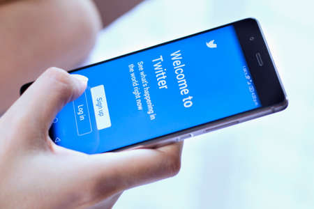 Johor, Malaysia - Feb 8, 2017: Twitter is a social networking website that makes it easy for you to connect and share with your family and friends online, Feb 8, 2017 in Johor, Malaysia.
